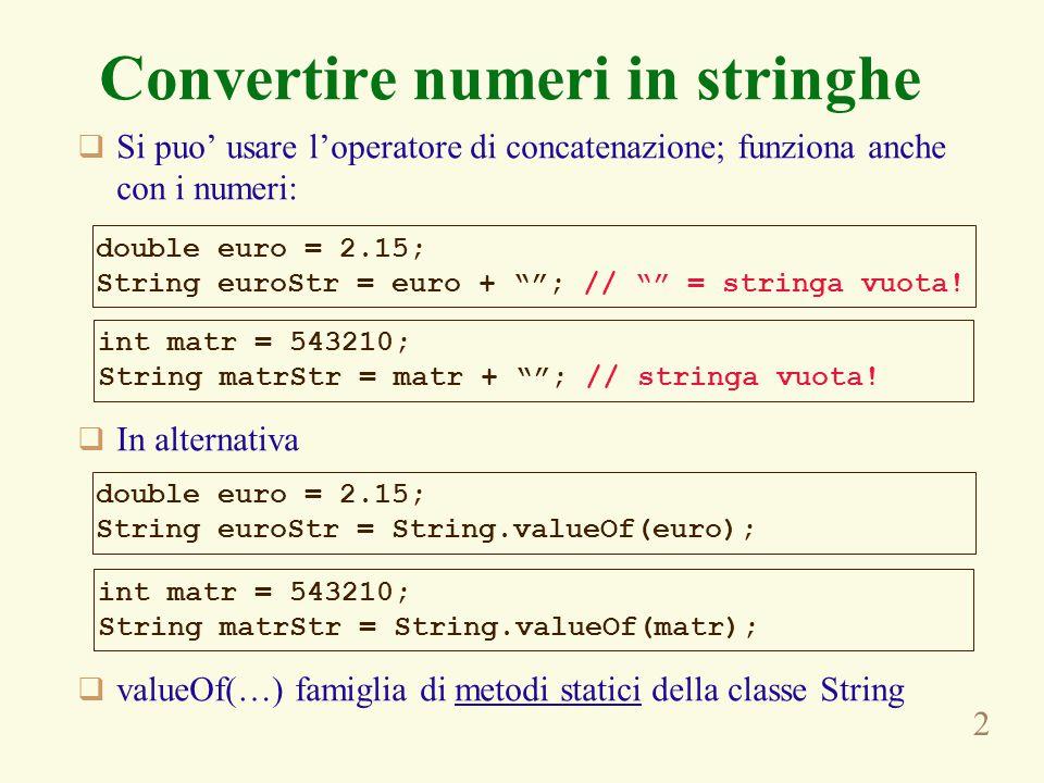 2 Convertire numeri in stringhe  Si puo' usare l'operatore di concatenazione; funziona anche con i numeri:  In alternativa  valueOf(…) famiglia di metodi statici della classe String double euro = 2.15; String euroStr = euro + ; // = stringa vuota.