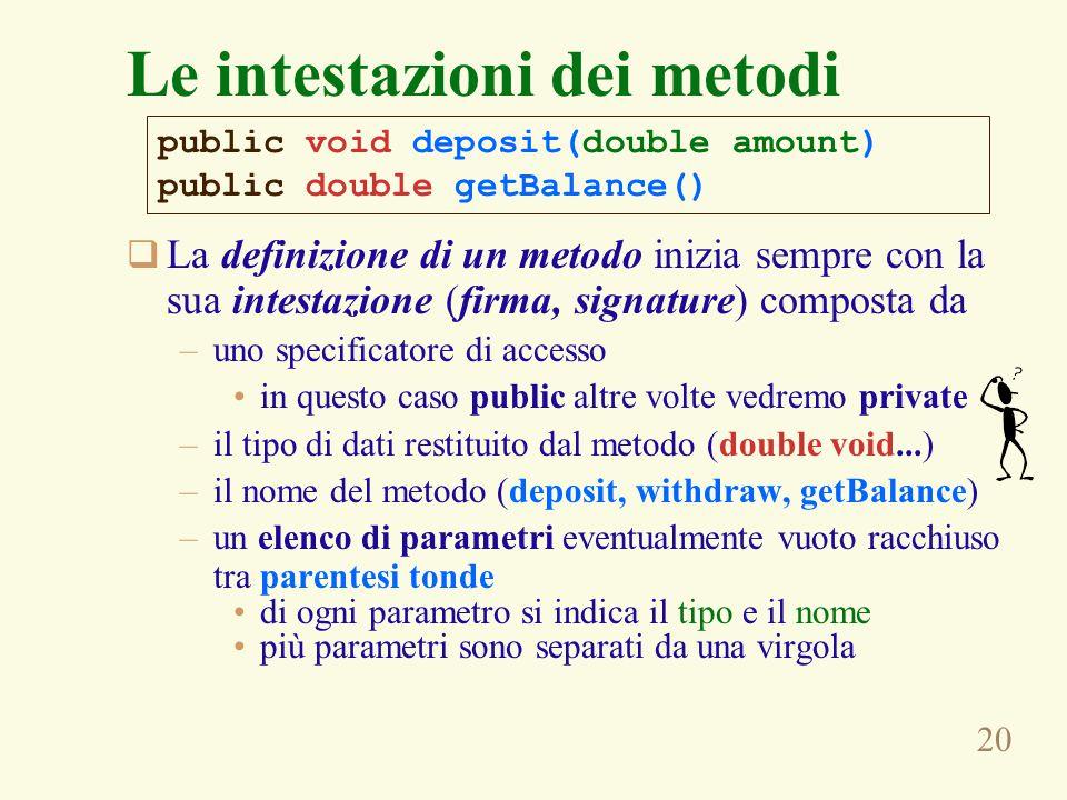 20  La definizione di un metodo inizia sempre con la sua intestazione (firma, signature) composta da –uno specificatore di accesso in questo caso pub