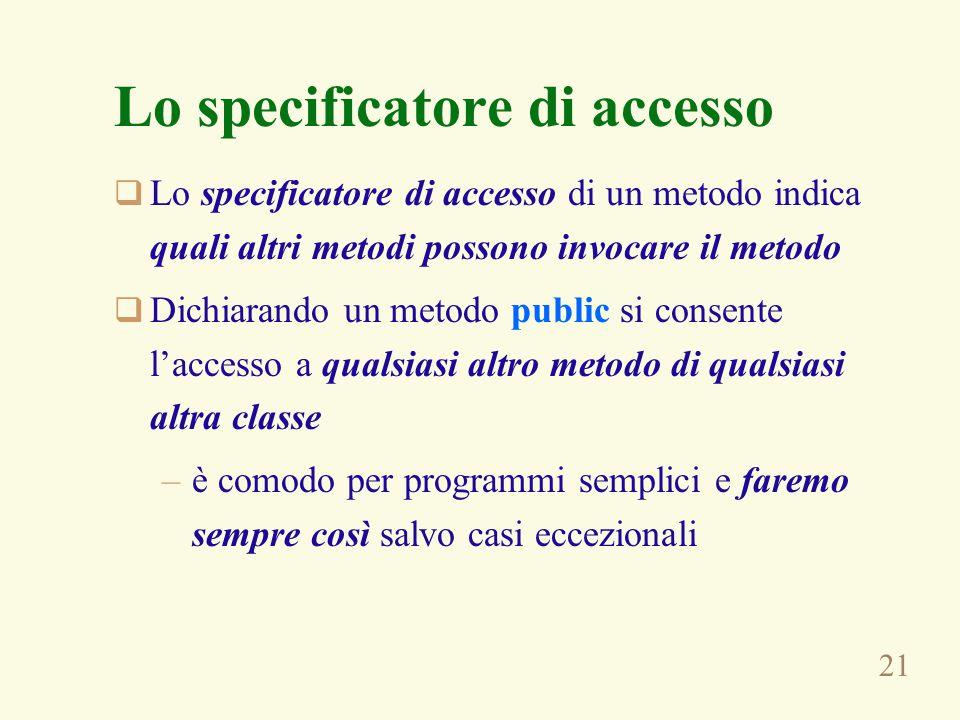 21 Lo specificatore di accesso  Lo specificatore di accesso di un metodo indica quali altri metodi possono invocare il metodo  Dichiarando un metodo