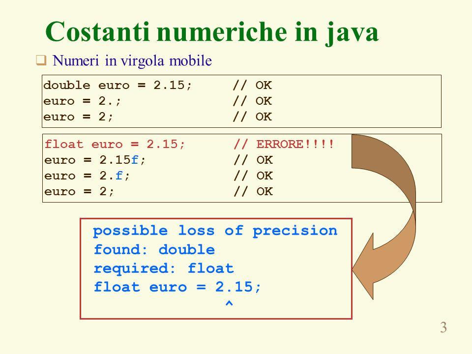 3 Costanti numeriche in java  Numeri in virgola mobile double euro = 2.15; // OK euro = 2.; // OK euro = 2; // OK float euro = 2.15; // ERRORE!!!! eu