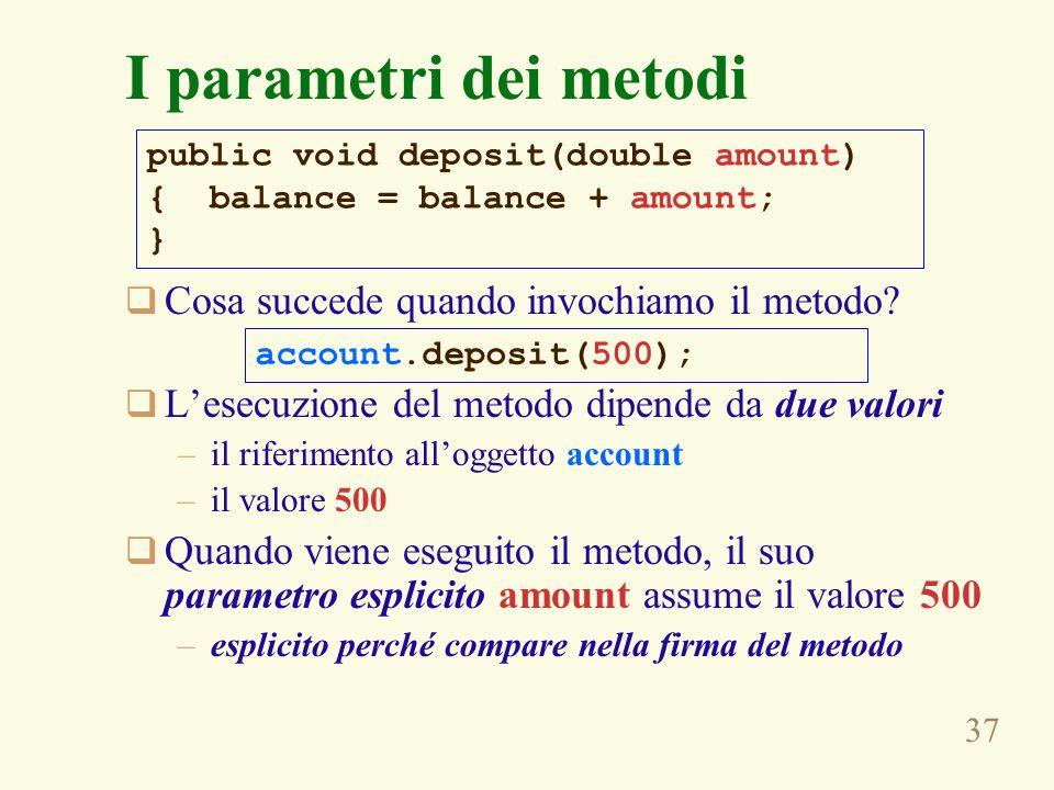 37 I parametri dei metodi public void deposit(double amount) { balance = balance + amount; }  Cosa succede quando invochiamo il metodo.