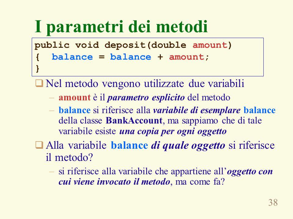 38  Nel metodo vengono utilizzate due variabili –amount è il parametro esplicito del metodo –balance si riferisce alla variabile di esemplare balance della classe BankAccount, ma sappiamo che di tale variabile esiste una copia per ogni oggetto  Alla variabile balance di quale oggetto si riferisce il metodo.