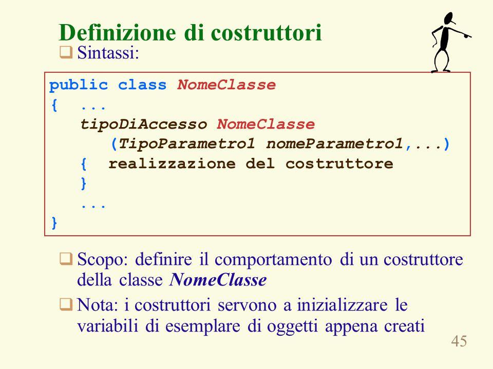45 Definizione di costruttori  Sintassi:  Scopo: definire il comportamento di un costruttore della classe NomeClasse  Nota: i costruttori servono a