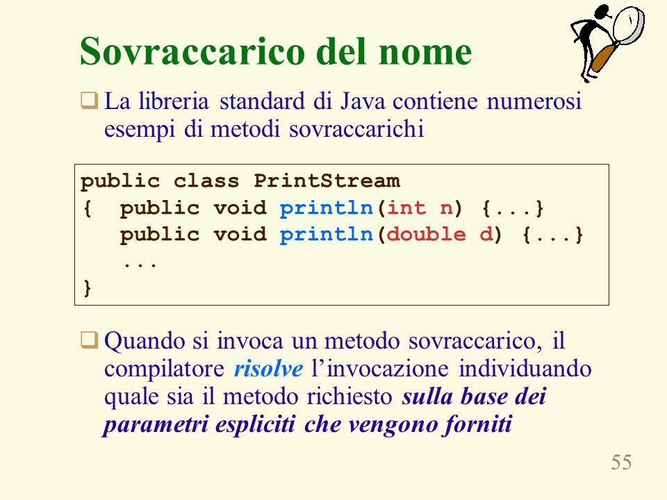 55 Sovraccarico del nome  La libreria standard di Java contiene numerosi esempi di metodi sovraccarichi  Quando si invoca un metodo sovraccarico, il