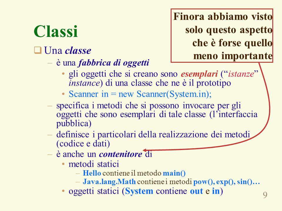 9 Classi  Una classe –è una fabbrica di oggetti gli oggetti che si creano sono esemplari ( istanze instance) di una classe che ne è il prototipo Scanner in = new Scanner(System.in); –specifica i metodi che si possono invocare per gli oggetti che sono esemplari di tale classe (l'interfaccia pubblica) –definisce i particolari della realizzazione dei metodi (codice e dati) –è anche un contenitore di metodi statici –Hello contiene il metodo main() –Java.lang.Math contiene i metodi pow(), exp(), sin()… oggetti statici (System contiene out e in) Finora abbiamo visto solo questo aspetto che è forse quello meno importante
