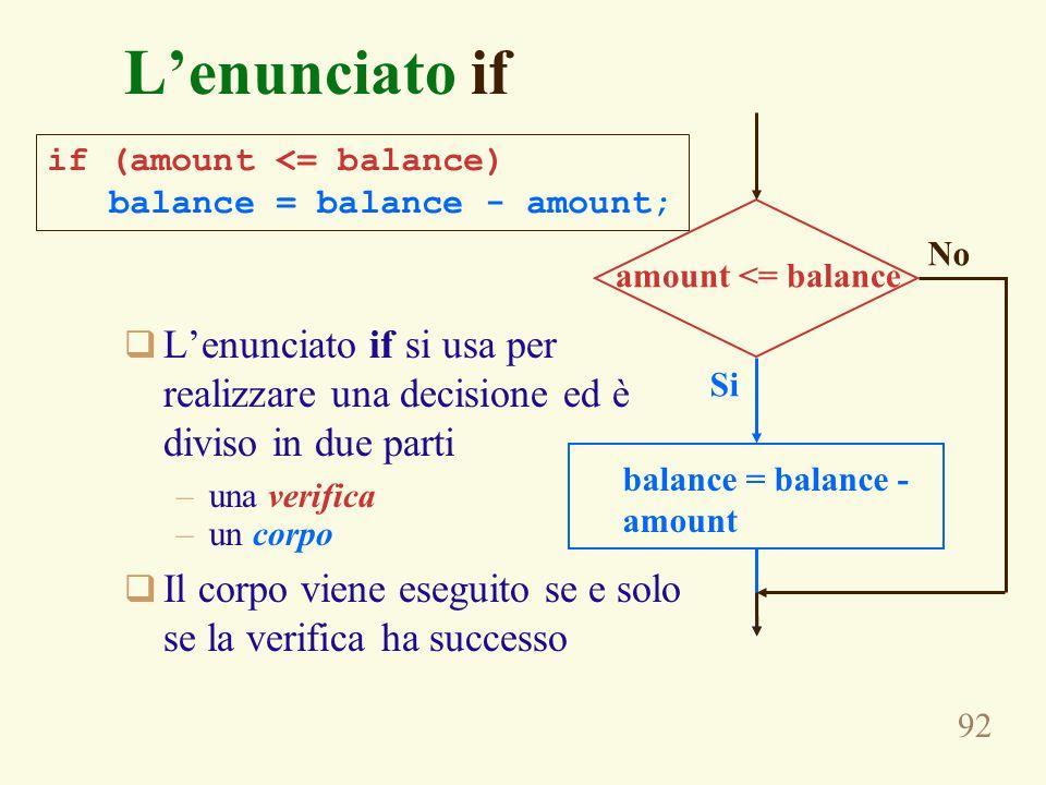 92 L'enunciato if  L'enunciato if si usa per realizzare una decisione ed è diviso in due parti –una verifica –un corpo  Il corpo viene eseguito se e solo se la verifica ha successo if (amount <= balance) balance = balance - amount; amount <= balance balance = balance - amount No Si