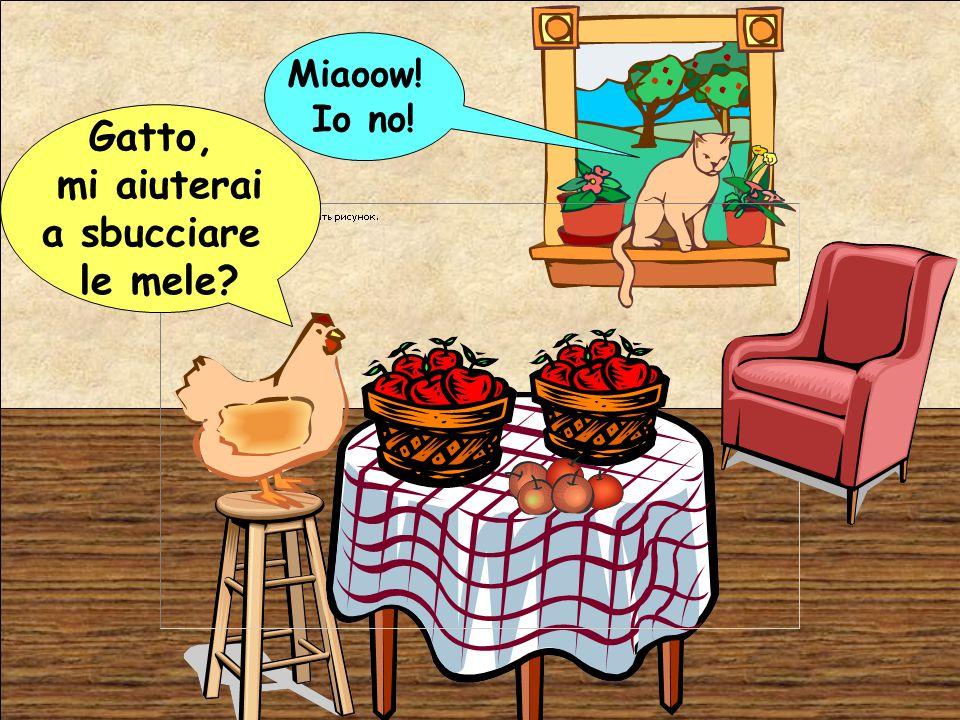 Gatto, mi aiuterai a sbucciare le mele? Miaoow! Io no!