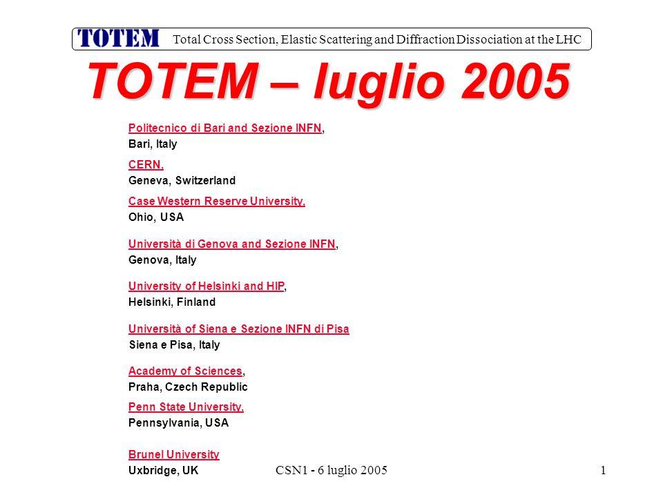 Total Cross Section, Elastic Scattering and Diffraction Dissociation at the LHC CSN1 - 6 luglio 20051 TOTEM – luglio 2005 Politecnico di Bari and Sezi