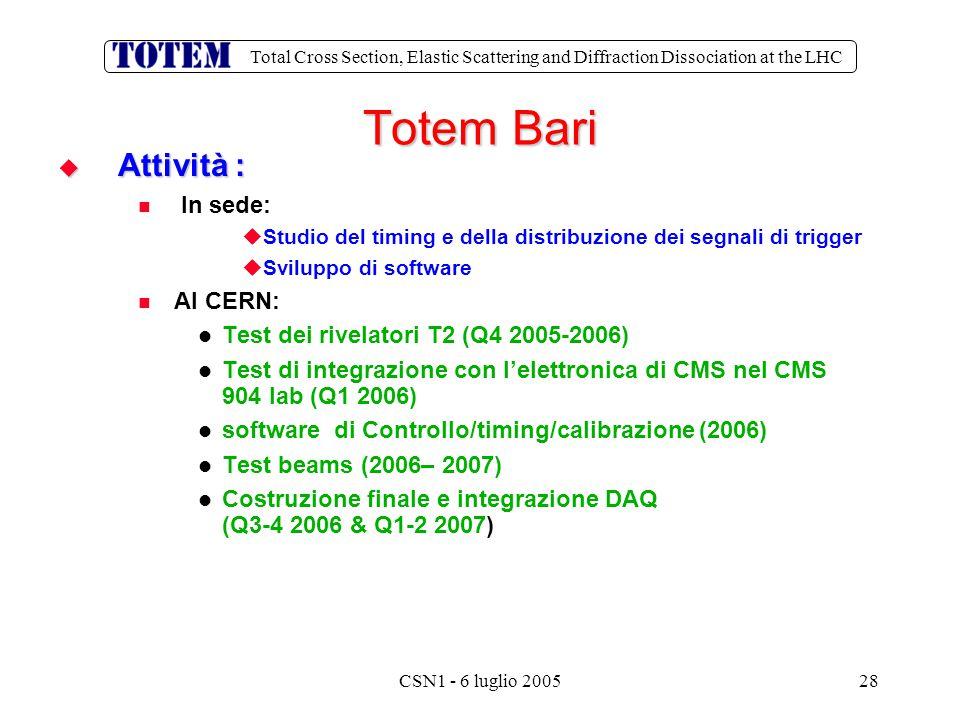 Total Cross Section, Elastic Scattering and Diffraction Dissociation at the LHC CSN1 - 6 luglio 200528  Attività : In sede:   Studio del timing e della distribuzione dei segnali di trigger   Sviluppo di software Al CERN: Test dei rivelatori T2 (Q4 2005-2006) Test di integrazione con l'elettronica di CMS nel CMS 904 lab (Q1 2006) software di Controllo/timing/calibrazione (2006) Test beams (2006– 2007) Costruzione finale e integrazione DAQ (Q3-4 2006 & Q1-2 2007) Totem Bari