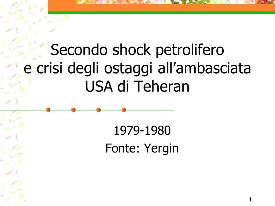 2 Secondo shock petrolifero Perdita petrolio iraniano parzialmente compensata da aumenti altrove Ma il prezzo aumenta del 150% a causa del panico e di altri motivi: 1-crescita consumi 2-apporto non-Opec ancora non chiaro 3-distruzione accordi contrattuali Ricerca convulsa di petrolio 4-IEA ancora in gestazione - politiche contraddittorie degli importatori