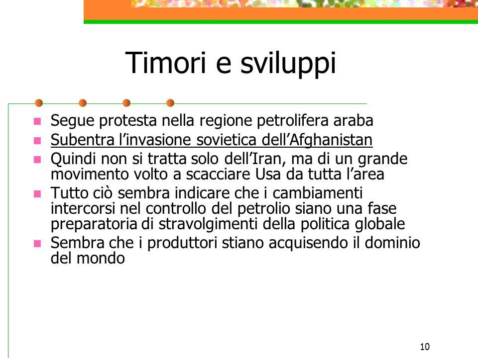 10 Timori e sviluppi Segue protesta nella regione petrolifera araba Subentra l'invasione sovietica dell'Afghanistan Quindi non si tratta solo dell'Ira