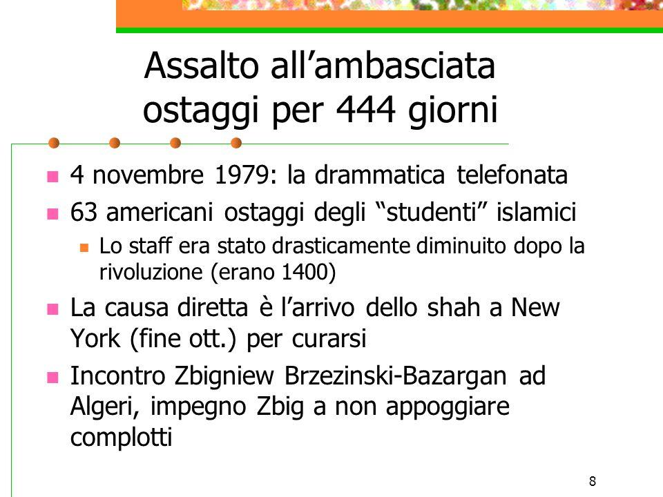 """8 Assalto all'ambasciata ostaggi per 444 giorni 4 novembre 1979: la drammatica telefonata 63 americani ostaggi degli """"studenti"""" islamici Lo staff era"""