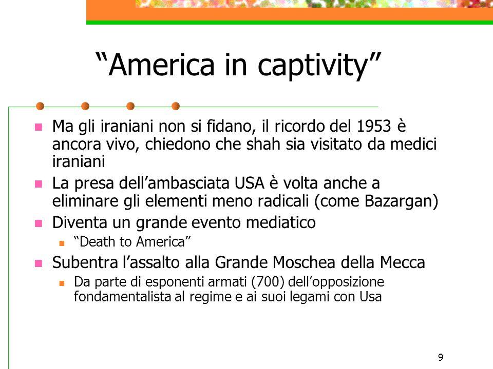 """9 """"America in captivity"""" Ma gli iraniani non si fidano, il ricordo del 1953 è ancora vivo, chiedono che shah sia visitato da medici iraniani La presa"""