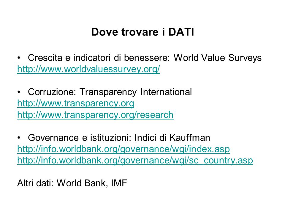Dove trovare i DATI Crescita e indicatori di benessere: World Value Surveys http://www.worldvaluessurvey.org/ Corruzione: Transparency International h