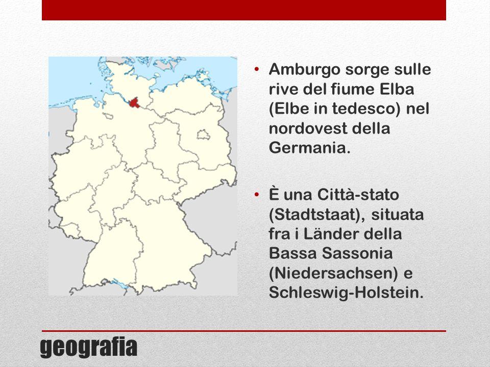 Amburgo sorge sulle rive del fiume Elba (Elbe in tedesco) nel nordovest della Germania.