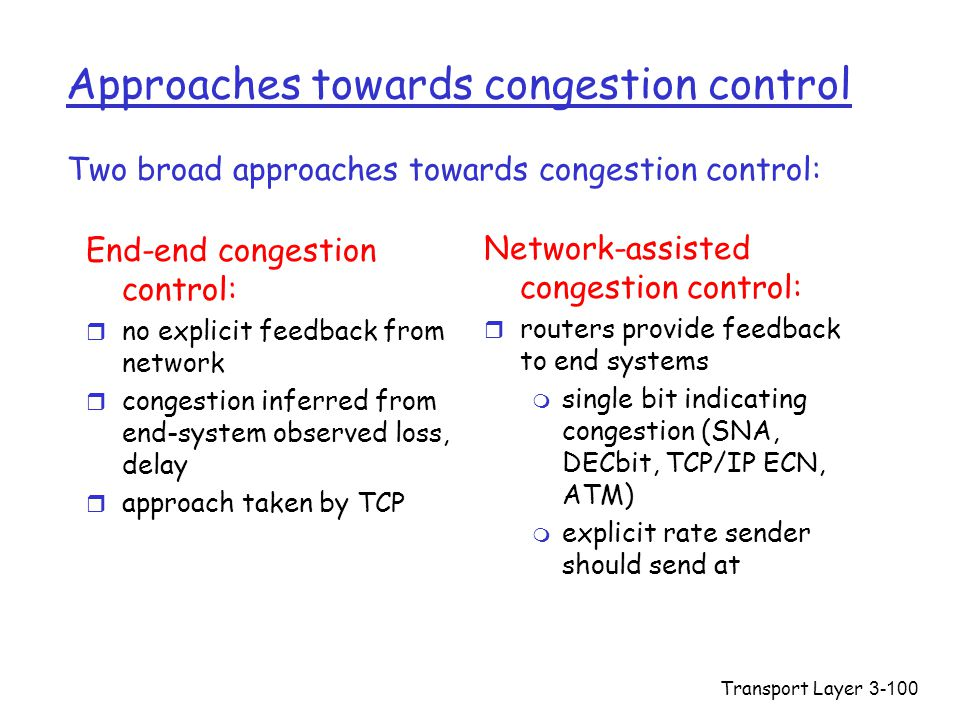 Transport Layer3-100 Approaches towards congestion control End-end congestion control: r no explicit feedback from network r congestion inferred from