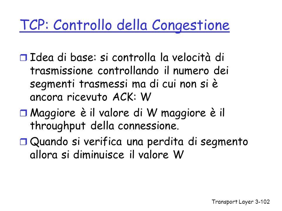 Transport Layer3-102 TCP: Controllo della Congestione r Idea di base: si controlla la velocità di trasmissione controllando il numero dei segmenti tra