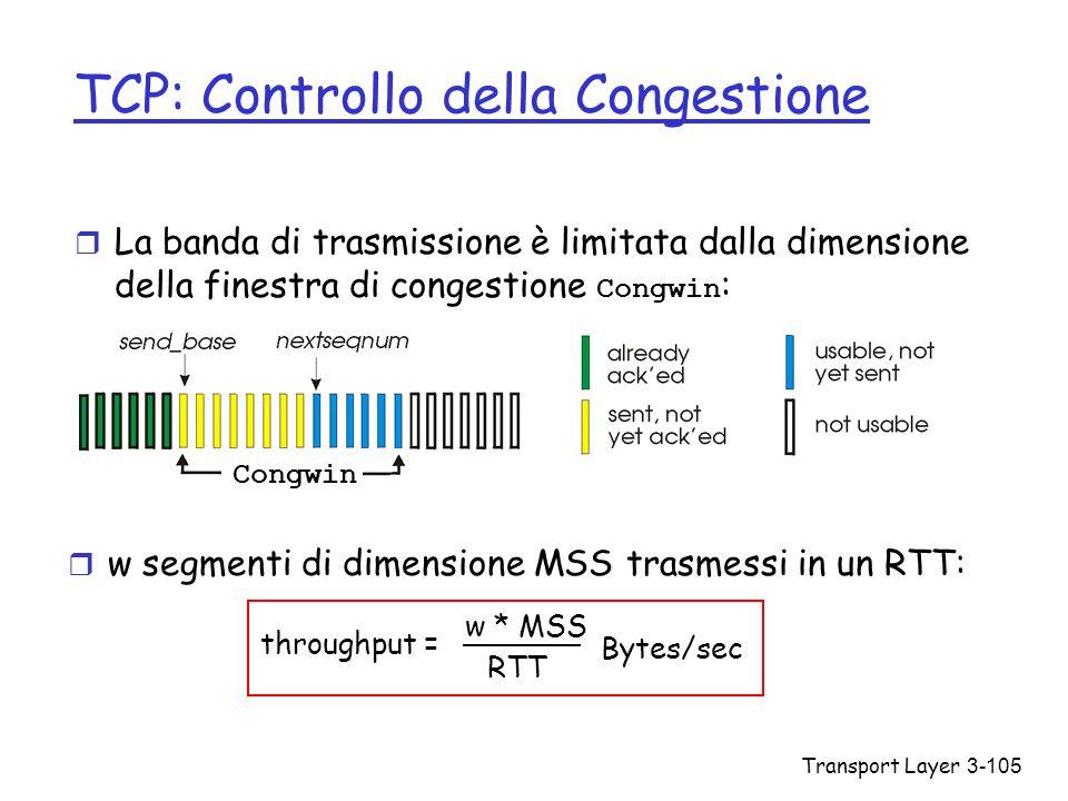 Transport Layer3-105 TCP: Controllo della Congestione  La banda di trasmissione è limitata dalla dimensione della finestra di congestione Congwin : r