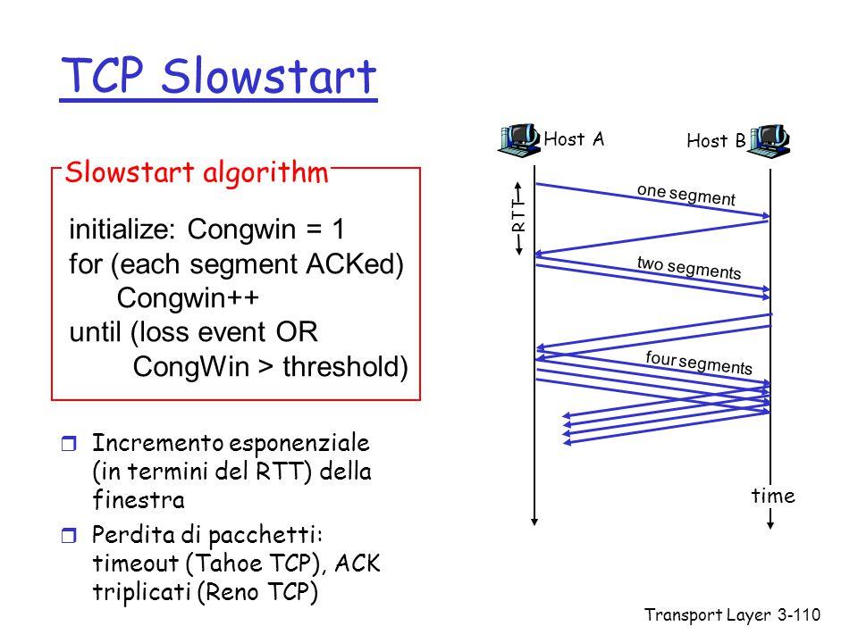 Transport Layer3-110 TCP Slowstart r Incremento esponenziale (in termini del RTT) della finestra r Perdita di pacchetti: timeout (Tahoe TCP), ACK trip