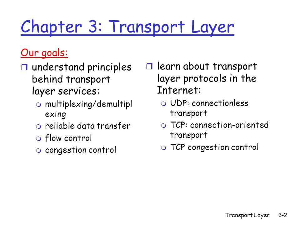 Transport Layer3-103 TCP Controllo della congestione r Due fasi m slow start (partenza lenta) m congestion avoidance (annullamento della congestione) r Valori da considerare:  Congwin  threshold: soglia che segnala il passaggio tra le due fasi