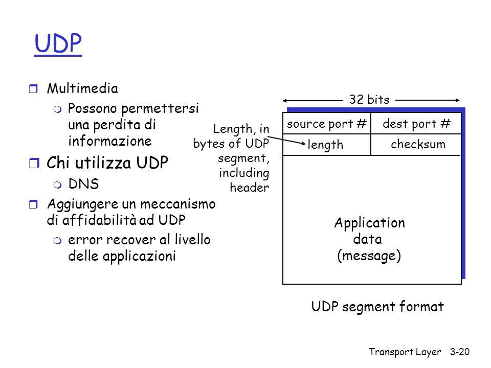 Transport Layer3-20 UDP r Multimedia m Possono permettersi una perdita di informazione r Chi utilizza UDP m DNS r Aggiungere un meccanismo di affidabi