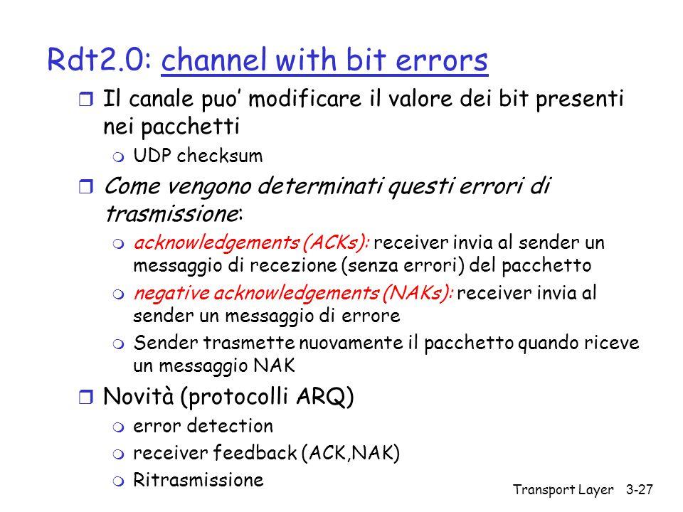 Transport Layer3-27 Rdt2.0: channel with bit errors r Il canale puo' modificare il valore dei bit presenti nei pacchetti m UDP checksum r Come vengono