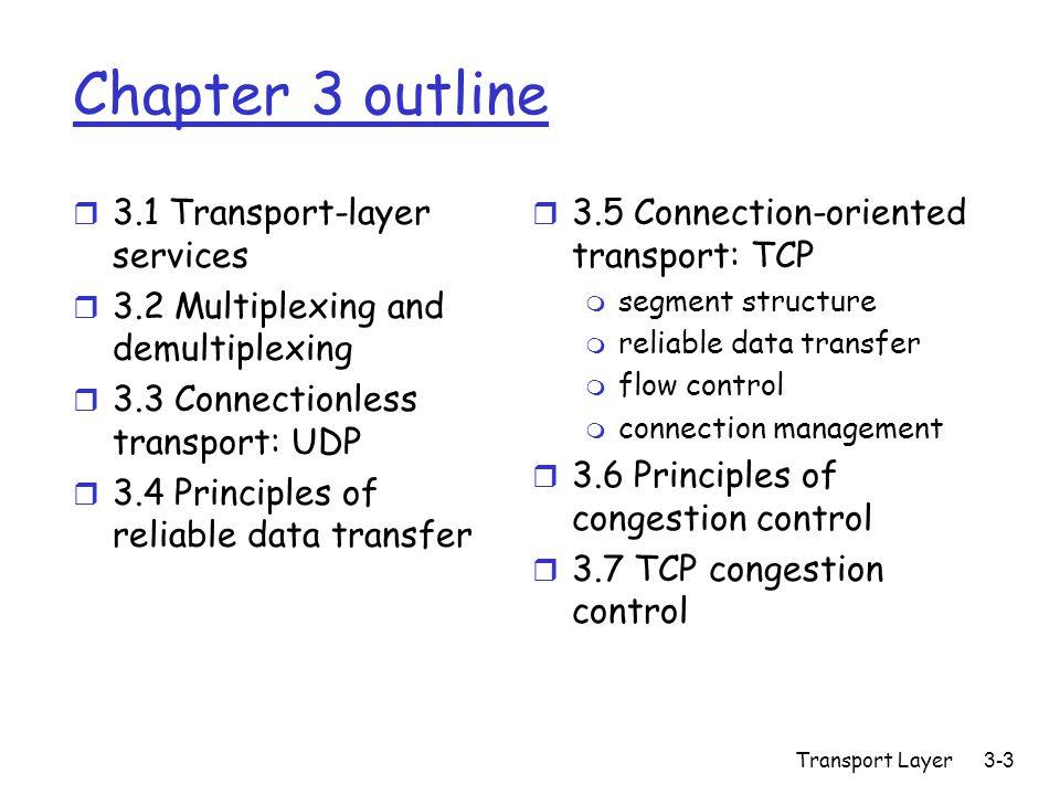 Transport Layer3-104 Controllo della congestione r Limite superiore alle trasmissioni dei segmenti LastByteSent-LastByteAcked  CongWin r In formula  CongWin è il valore dinamico della funzione che misura la congestione della rete rate = CongWin RTT Bytes/sec
