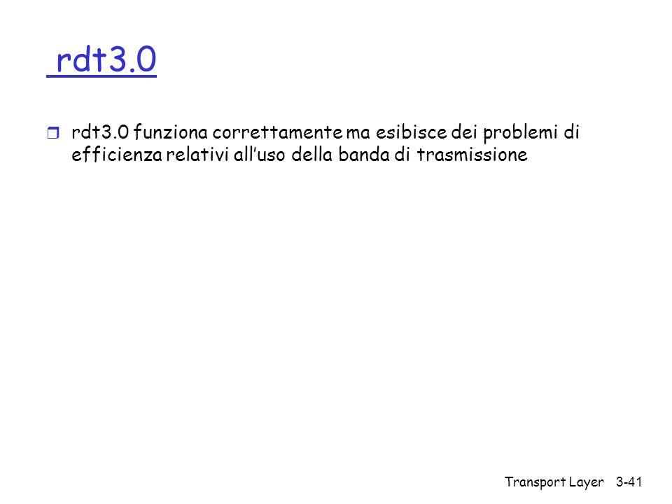 Transport Layer3-41 rdt3.0 r rdt3.0 funziona correttamente ma esibisce dei problemi di efficienza relativi all'uso della banda di trasmissione