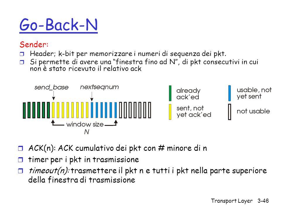 """Transport Layer3-46 Go-Back-N Sender: r Header; k-bit per memorizzare i numeri di sequenza dei pkt. r Si permette di avere una """"finestra fino ad N"""", d"""