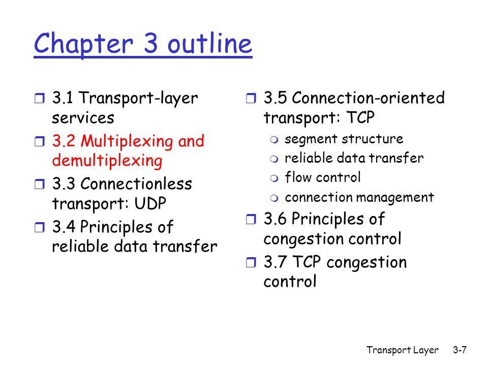Transport Layer3-38 rdt3.0 sender sndpkt = make_pkt(0, data, checksum) udt_send(sndpkt) start_timer rdt_send(data) Wait for ACK0 rdt_rcv(rcvpkt) && ( corrupt(rcvpkt) || isACK(rcvpkt,1) ) Wait for call 1 from above sndpkt = make_pkt(1, data, checksum) udt_send(sndpkt) start_timer rdt_send(data) rdt_rcv(rcvpkt) && notcorrupt(rcvpkt) && isACK(rcvpkt,0) rdt_rcv(rcvpkt) && ( corrupt(rcvpkt) || isACK(rcvpkt,0) ) rdt_rcv(rcvpkt) && notcorrupt(rcvpkt) && isACK(rcvpkt,1) stop_timer udt_send(sndpkt) start_timer timeout udt_send(sndpkt) start_timer timeout rdt_rcv(rcvpkt) Wait for call 0from above Wait for ACK1  rdt_rcv(rcvpkt)   