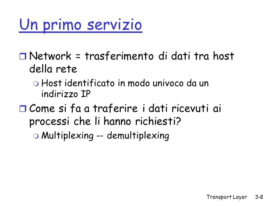 Transport Layer3-9 Porte e processi r Porta identifica in modo univoco un processo in esecuzione su di un host m Porte di sistema : 0 – 1023 m FTP – 21, HTTP – 80, m RFC 1700 r Applicazioni di rete m Porte maggiori di 1024