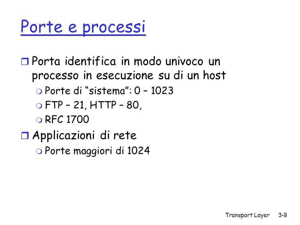 Transport Layer3-110 TCP Slowstart r Incremento esponenziale (in termini del RTT) della finestra r Perdita di pacchetti: timeout (Tahoe TCP), ACK triplicati (Reno TCP) initialize: Congwin = 1 for (each segment ACKed) Congwin++ until (loss event OR CongWin > threshold) Slowstart algorithm Host A one segment RTT Host B time two segments four segments