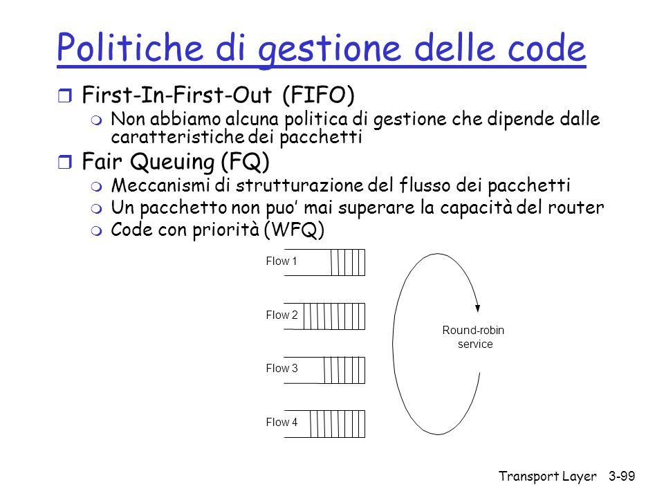 Transport Layer3-99 Politiche di gestione delle code r First-In-First-Out (FIFO) m Non abbiamo alcuna politica di gestione che dipende dalle caratteri