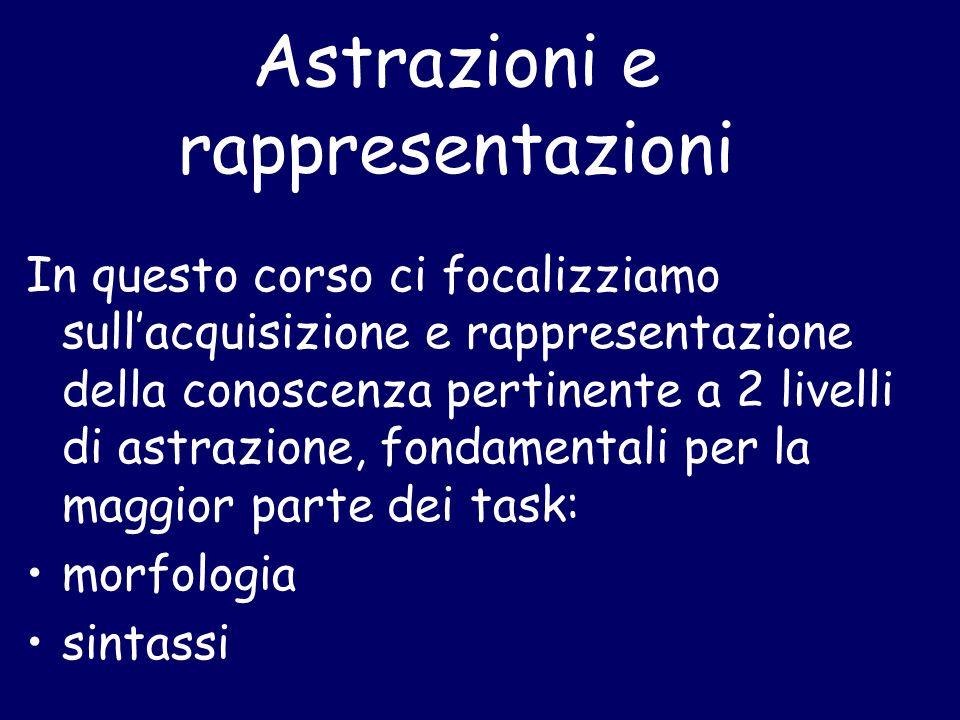 Astrazioni e rappresentazioni In questo corso ci focalizziamo sull'acquisizione e rappresentazione della conoscenza pertinente a 2 livelli di astrazione, fondamentali per la maggior parte dei task: morfologia sintassi