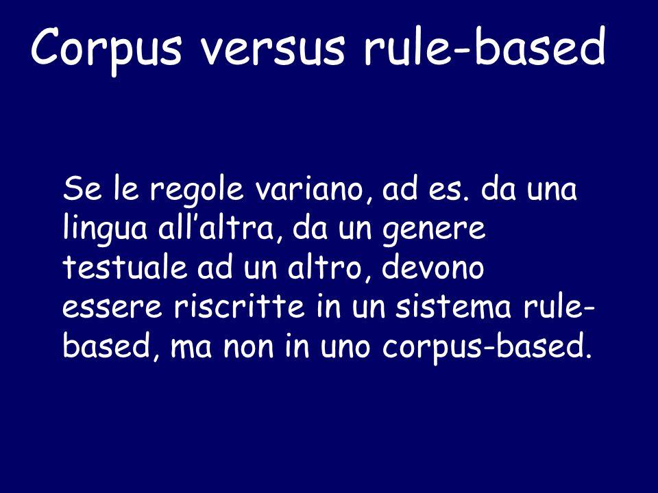 Corpus versus rule-based Se le regole variano, ad es. da una lingua all'altra, da un genere testuale ad un altro, devono essere riscritte in un sistem