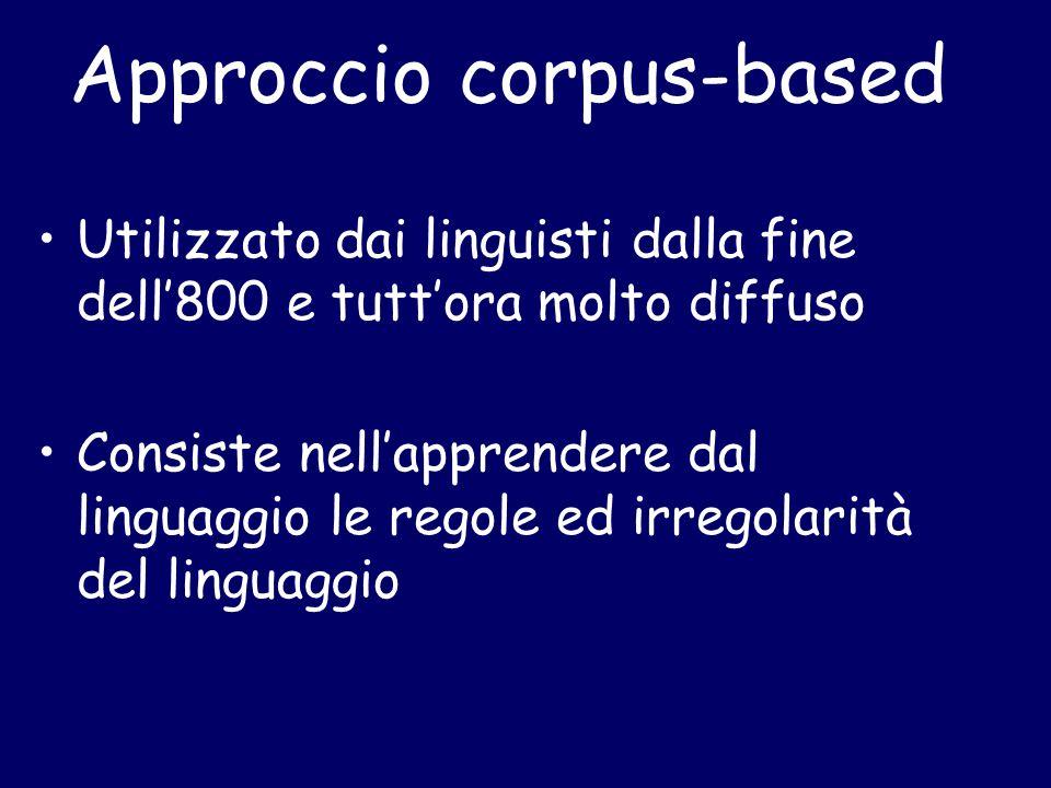 Approccio corpus-based Utilizzato dai linguisti dalla fine dell'800 e tutt'ora molto diffuso Consiste nell'apprendere dal linguaggio le regole ed irregolarità del linguaggio
