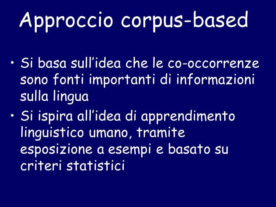 Approccio corpus-based Si basa sull'idea che le co-occorrenze sono fonti importanti di informazioni sulla lingua Si ispira all'idea di apprendimento linguistico umano, tramite esposizione a esempi e basato su criteri statistici