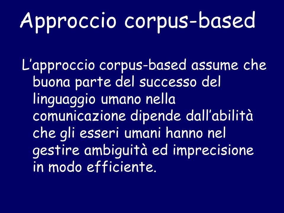 Approccio corpus-based L'approccio corpus-based assume che buona parte del successo del linguaggio umano nella comunicazione dipende dall'abilità che gli esseri umani hanno nel gestire ambiguità ed imprecisione in modo efficiente.