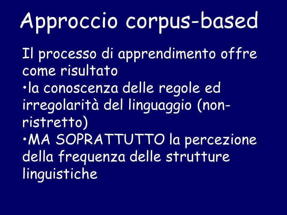 Approccio corpus-based Il processo di apprendimento offre come risultato la conoscenza delle regole ed irregolarità del linguaggio (non- ristretto) MA SOPRATTUTTO la percezione della frequenza delle strutture linguistiche