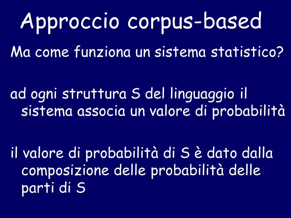 Approccio corpus-based Ma come funziona un sistema statistico.