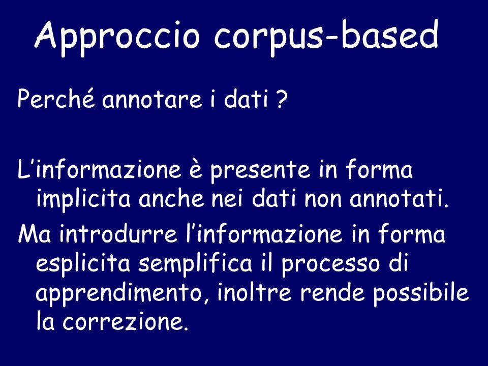 Approccio corpus-based Perché annotare i dati ? L'informazione è presente in forma implicita anche nei dati non annotati. Ma introdurre l'informazione