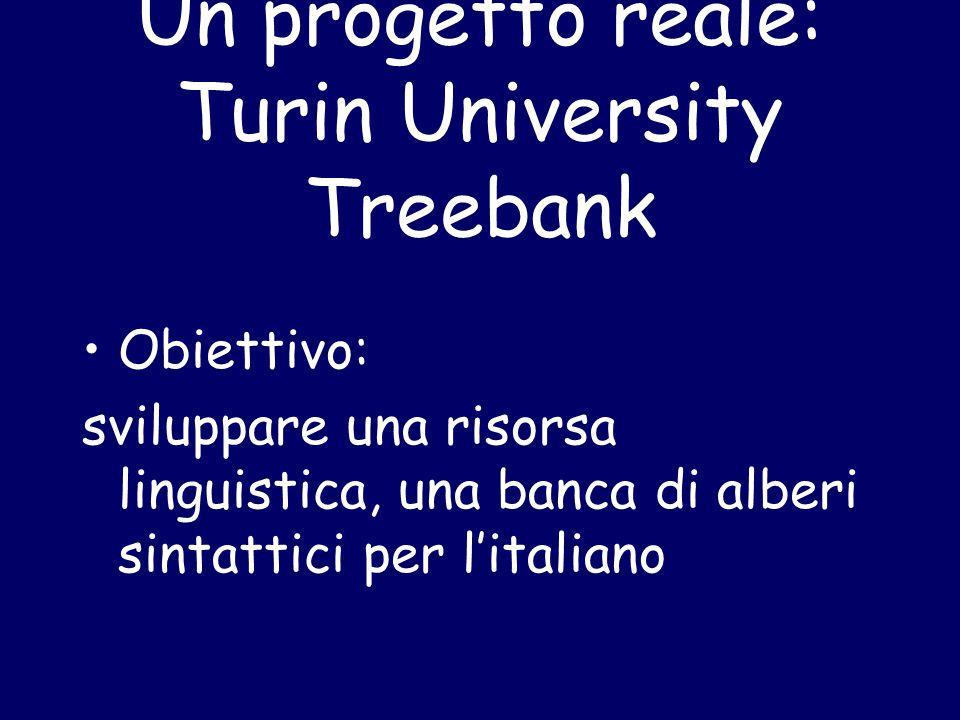 Un progetto reale: Turin University Treebank Obiettivo: sviluppare una risorsa linguistica, una banca di alberi sintattici per l'italiano
