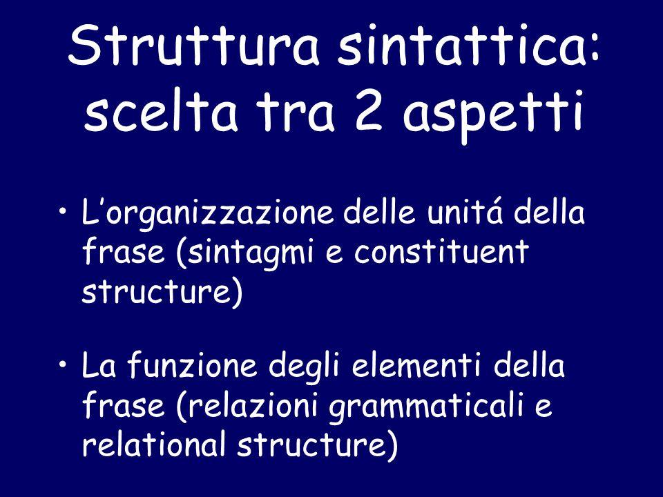 Struttura sintattica: scelta tra 2 aspetti L'organizzazione delle unitá della frase (sintagmi e constituent structure) La funzione degli elementi della frase (relazioni grammaticali e relational structure)