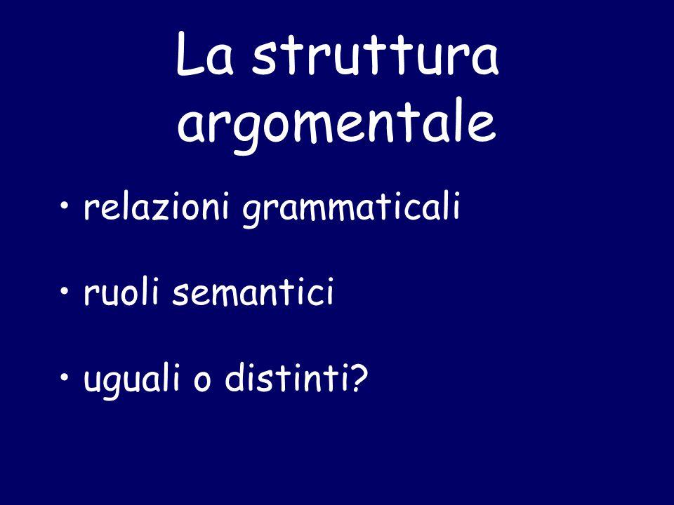 La struttura argomentale relazioni grammaticali ruoli semantici uguali o distinti?