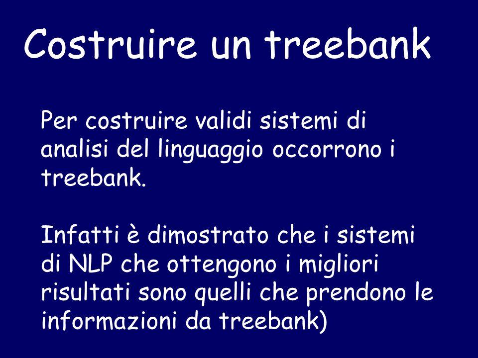Costruire un treebank Per costruire validi sistemi di analisi del linguaggio occorrono i treebank.