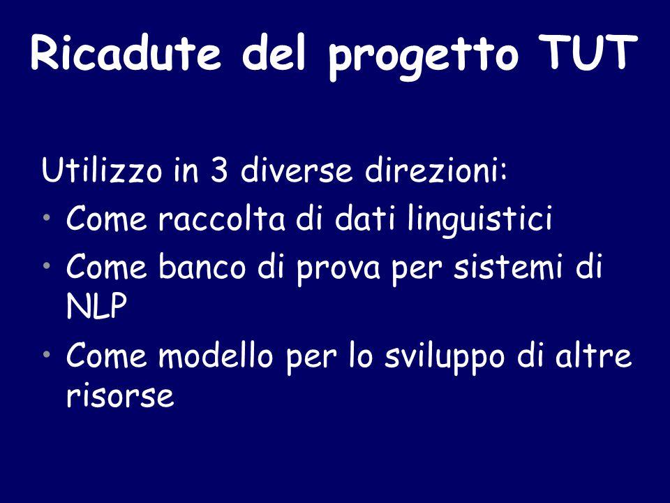 Ricadute del progetto TUT Utilizzo in 3 diverse direzioni: Come raccolta di dati linguistici Come banco di prova per sistemi di NLP Come modello per lo sviluppo di altre risorse