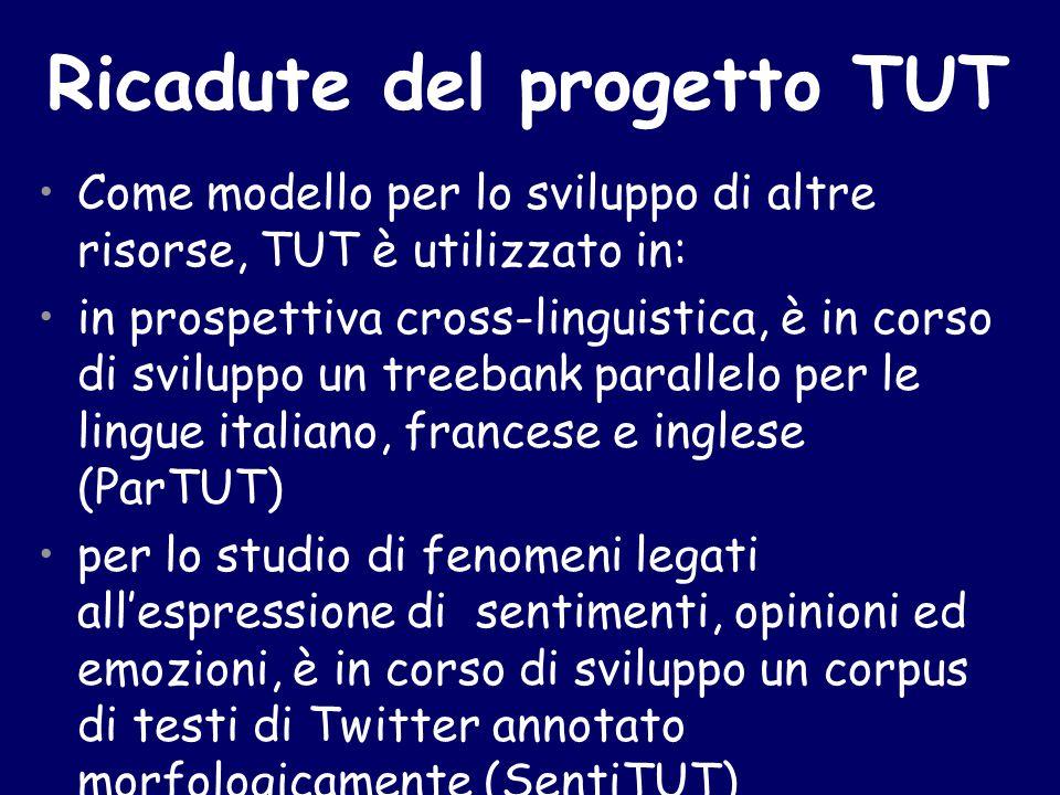 Come modello per lo sviluppo di altre risorse, TUT è utilizzato in: in prospettiva cross-linguistica, è in corso di sviluppo un treebank parallelo per