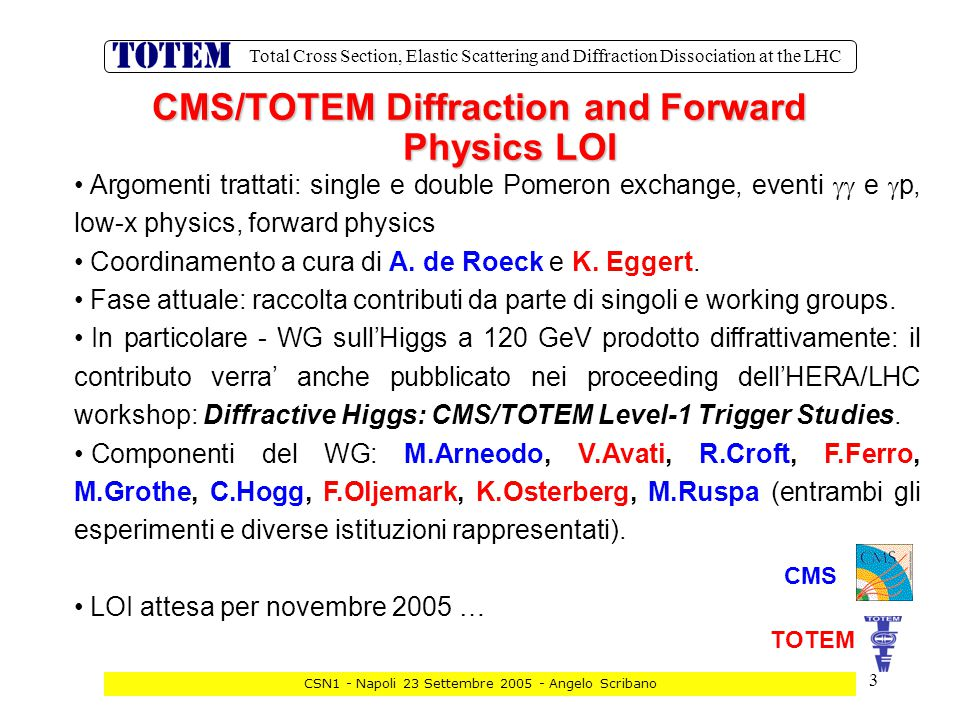 44 Total Cross Section, Elastic Scattering and Diffraction Dissociation at the LHC CSN1 - Napoli 23 Settembre 2005 - Angelo Scribano Values of Commitments by Funding Agencies