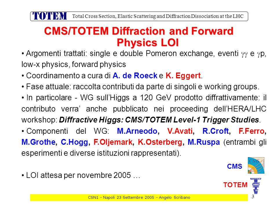14 Total Cross Section, Elastic Scattering and Diffraction Dissociation at the LHC CSN1 - Napoli 23 Settembre 2005 - Angelo Scribano Lettura digitale dei catodi: I segnali del preamp.