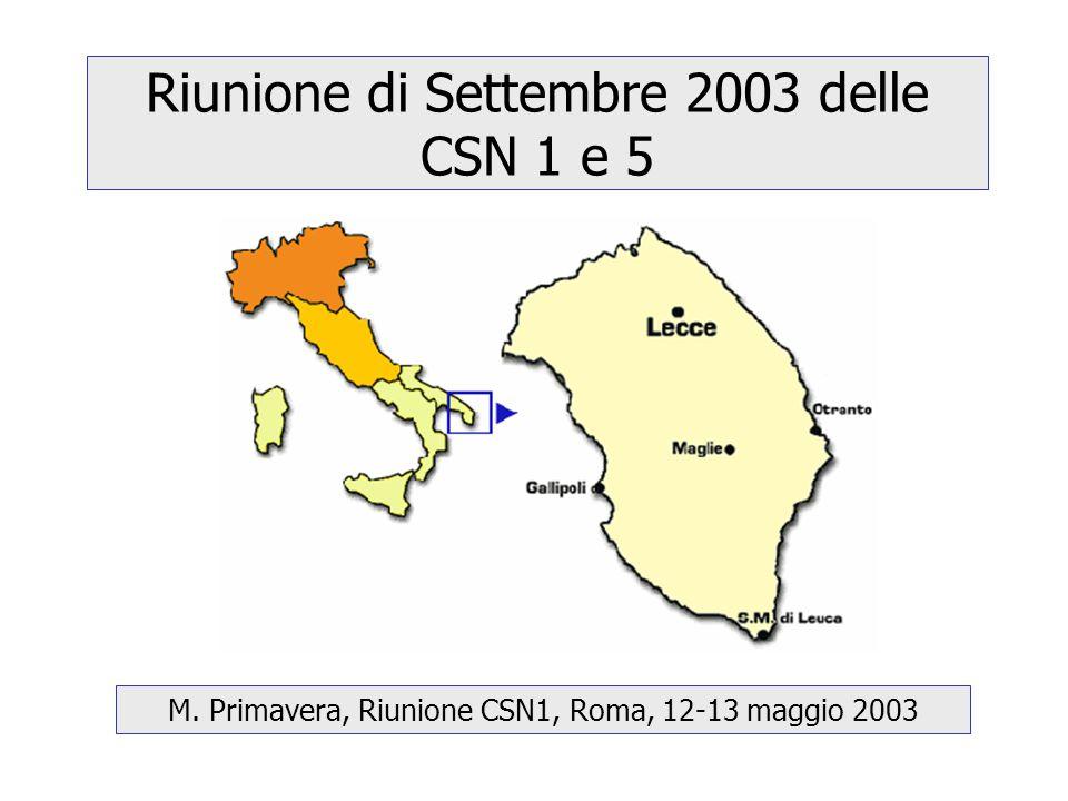 Riunione di Settembre 2003 delle CSN 1 e 5 M. Primavera, Riunione CSN1, Roma, 12-13 maggio 2003